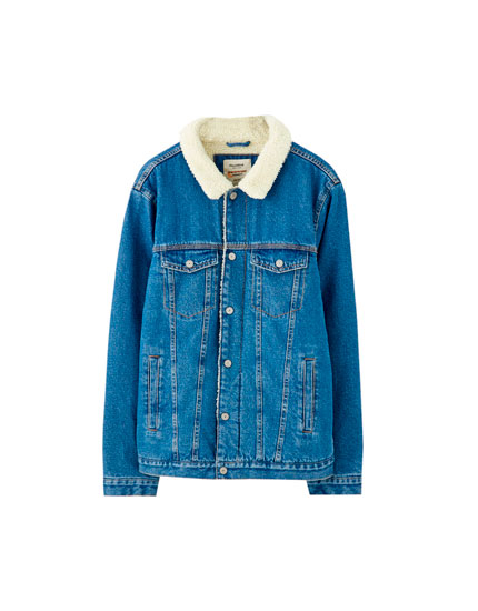 Denim jacket with fleecy collar