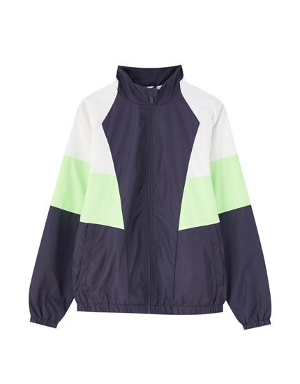 Colour block raincoat