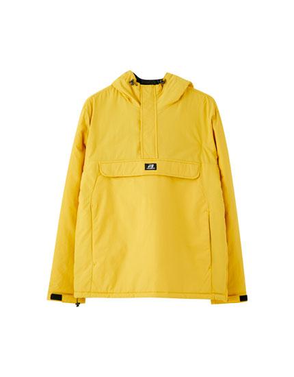 Blusão canguru de nylon com capuz