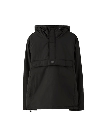 Nylon jacket with pouch pocket and hood