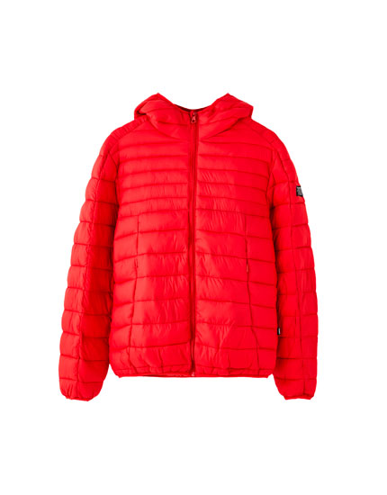 Lightweight puffer jacket with a hood