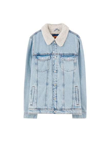 Denim jacket with contrast faux shearling collar