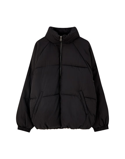 Black oversized puffer jacket