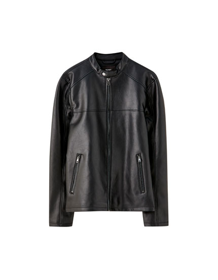 Faux leather jacket with stand-up collar