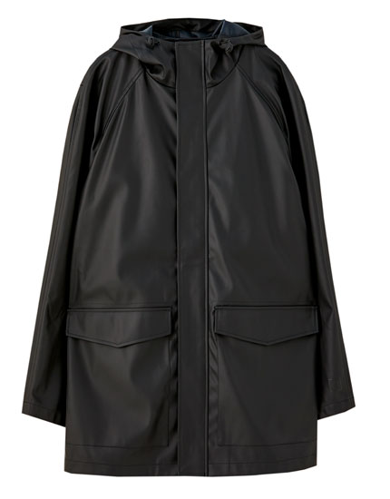 Rubberised raincoat with hood