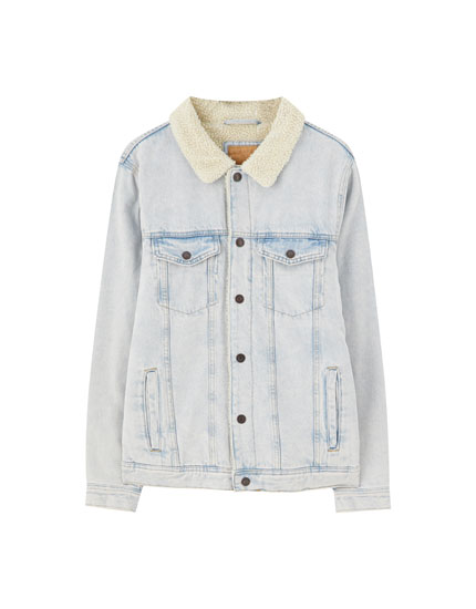 Denim jacket with faux shearling detail