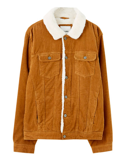 Corduroy trucker jacket with faux shearling