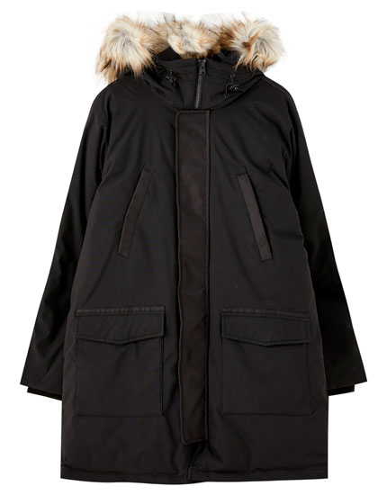 Quilted faux fur parka