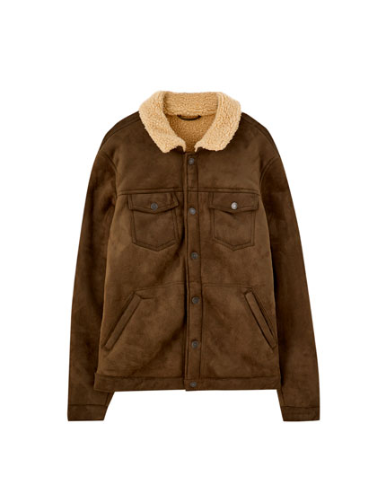 Faux suede trucker jacket with faux shearling
