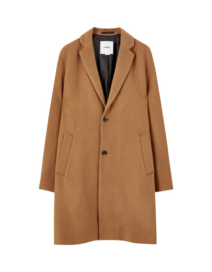 Classic-cut synthetic wool coat