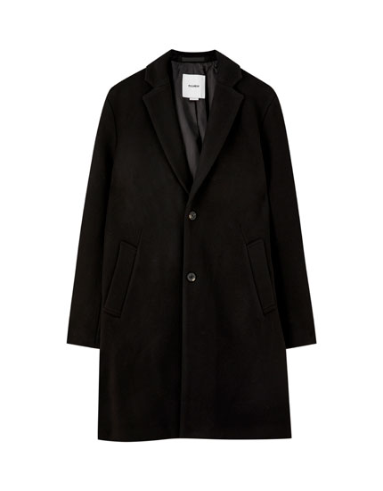 Classic-cut synthetic wool coat