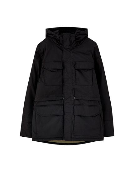 Hooded parka with multi-pocket design