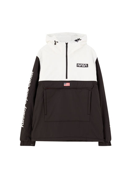 NASA colour block pouch pocket jacket