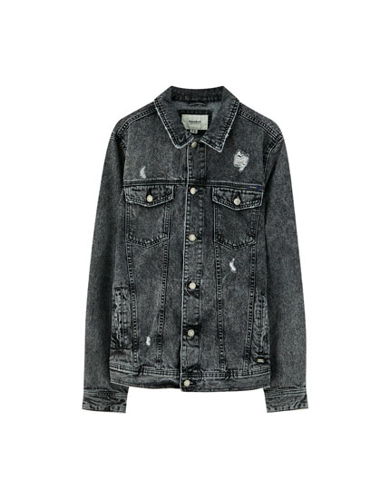 Acid wash basic denim jacket