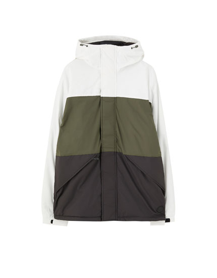 Hooded colour block puffer jacket