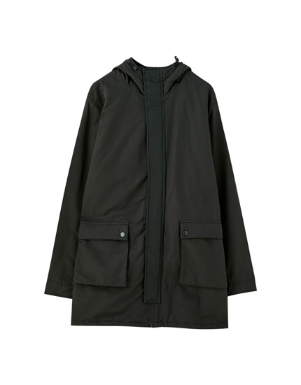 Hooded raincoat with placket pockets