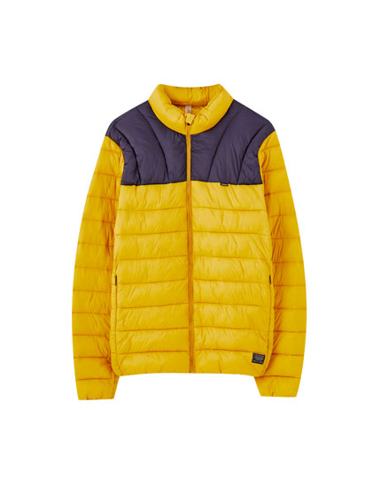 Lightweight colour block puffer jacket