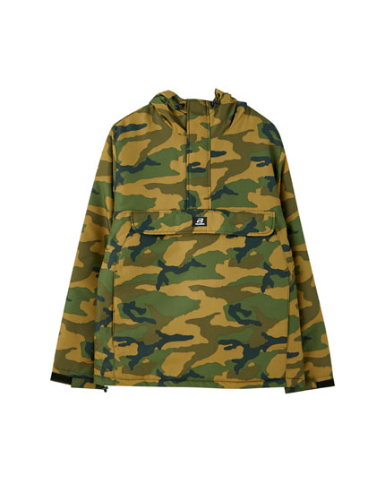 Camouflage print jacket with a pouch pocket
