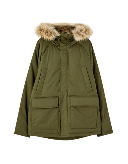 Puffer coat with pockets