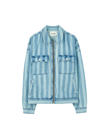 Striped denim worker jacket