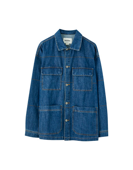 Denim worker jacket with pockets