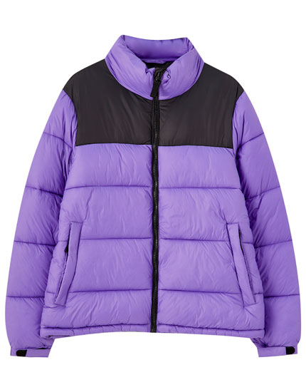 Colour block puffer jacket
