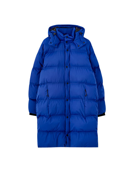 Long blue puffer coat
