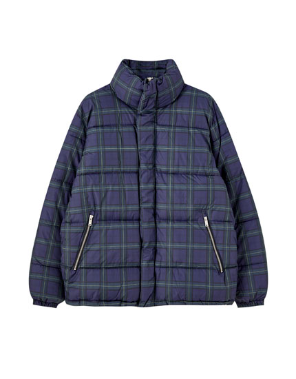 Blue check puffer jacket