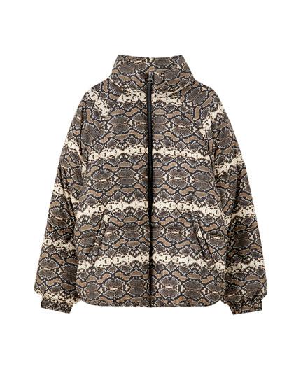 Snakeskin print puffer jacket