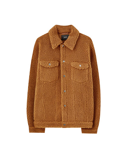 Brown faux shearling jacket