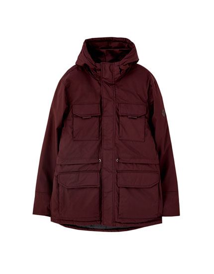 Hooded parka with multi-pocket design