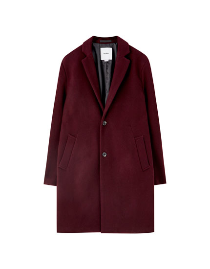 Maroon synthetic wool classic-cut coat