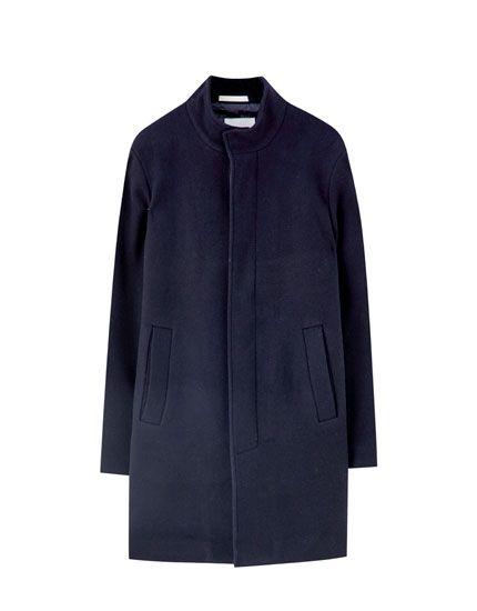High collar synthetic wool coat