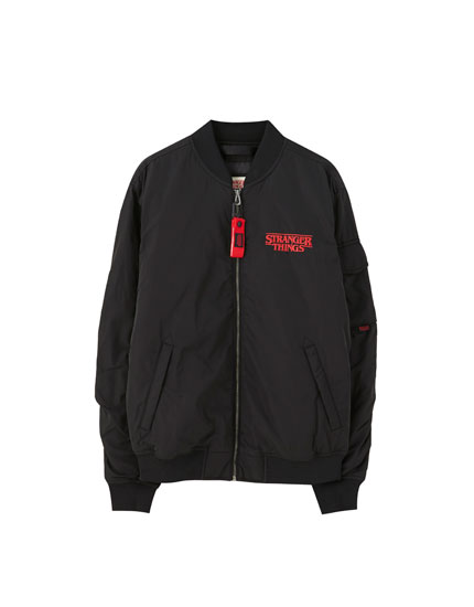 Stranger Things 3 bomber jacket with logo
