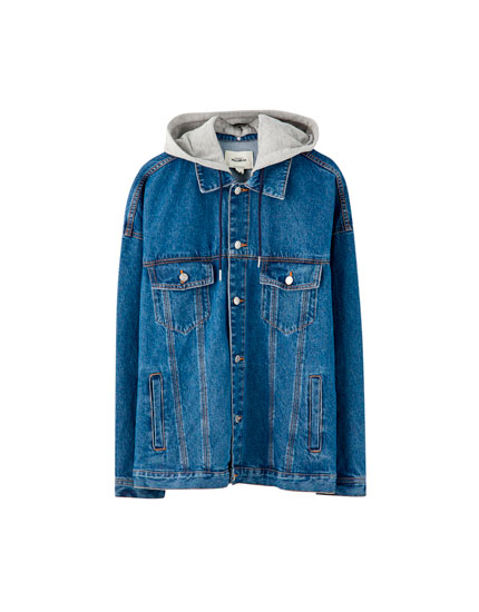 Denim jacket with a contrast hood