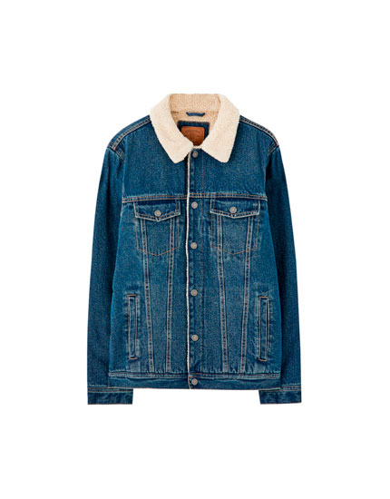 Basic denim jacket with faux shearling