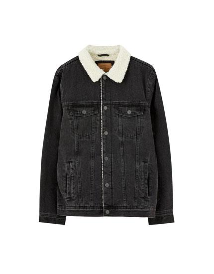 Basic denim jacket with faux shearling