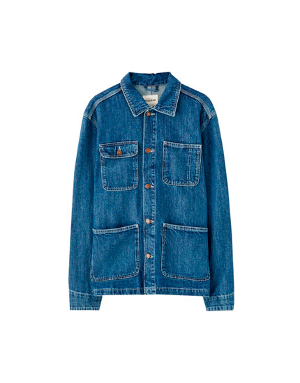 Denim worker jacket with contrast seams