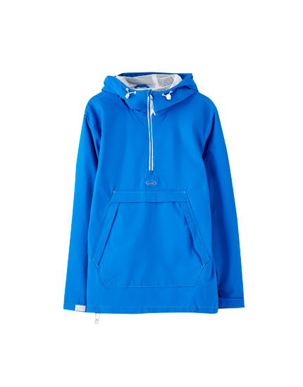 Hooded pouch pocket jacket with contrast zip