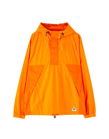 Orange cotton jacket with pouch pocket