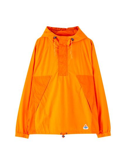 Βαμβακερό πορτοκαλί τζάκετ hoodie