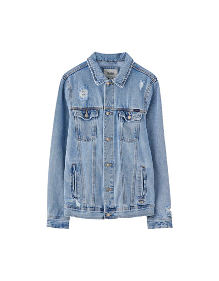 Ripped basic denim jacket