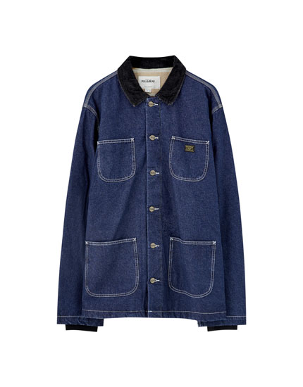 Denim worker jacket with seams