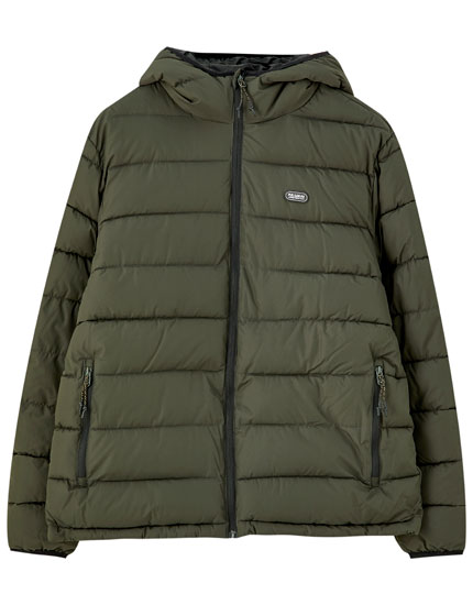QUILTED COAT WITH FAUX FUR COLLAR View all Outerwear