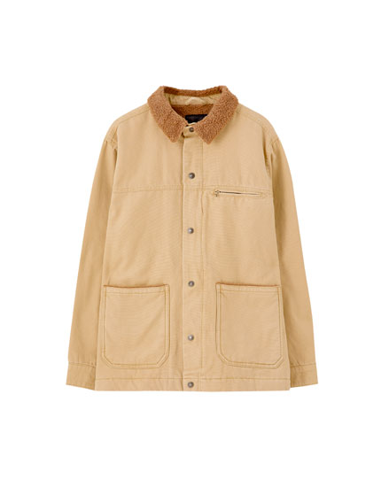 Worker jacket with contrast faux shearling collar