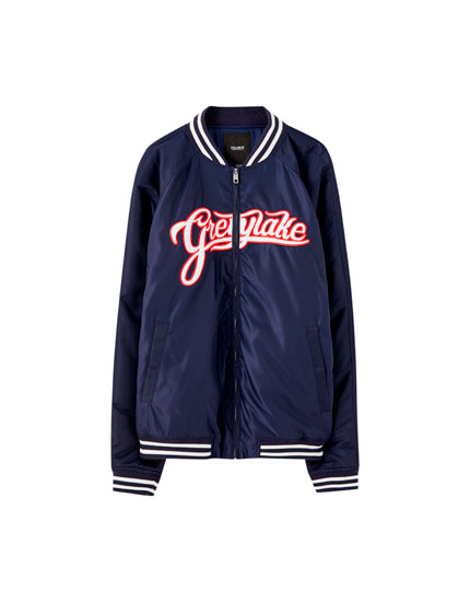 Varsity bomber jacket with embroidery