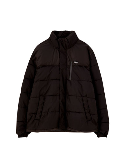 Ripstop colour block puffer jacket