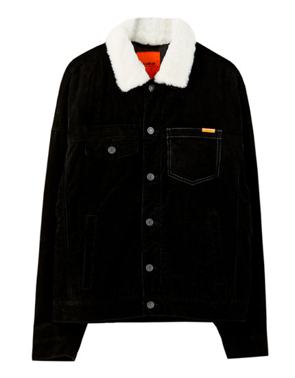 Corduroy jacket with faux shearling