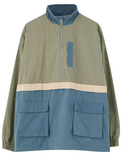Jacket with pouch pocket and contrast colour block