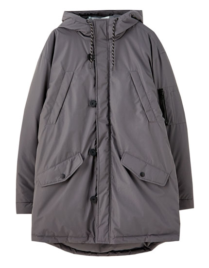 Asymmetric quilted parka